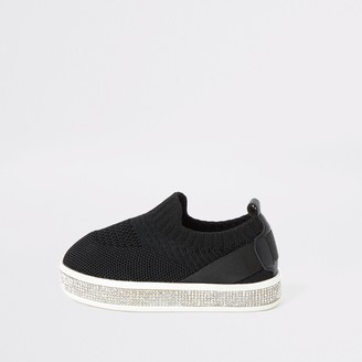 River Island Mini girls Black knitted diamante trainers