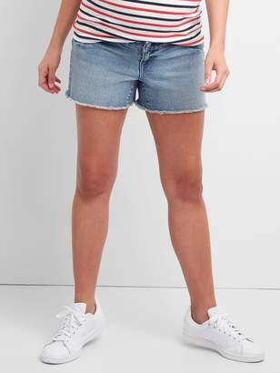 Gap Maternity Inset Panel Denim Shorts with Raw Hem