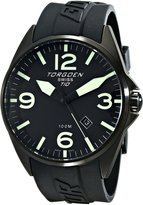 Torgoen Swiss Men's T10301 Ion-Plated 3-Hand Analog Rubber Strap Watch