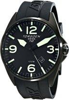 Torgoen Swiss Men's T10301 Ion-Plated 3-Hand Analog Rubber Strap Watch