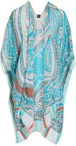 Lvs Collections LVS Collections Women's Kimono Cardigans TEAL - Teal Paisley Cape-Sleeve Kimono - Women
