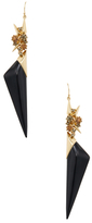 Alexis Bittar Lucite Golden Studded Double Drop Wire Earrings