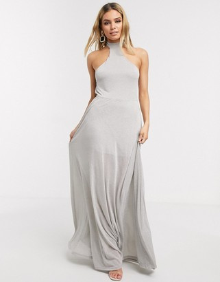 Lioness halter maxi dress in silver