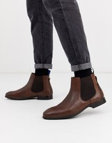 Ben Sherman leather chelsea boot in brown
