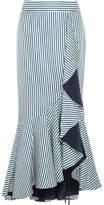 Hellessy Daffodil Ruffled Striped Silk-satin Twill Maxi Skirt - Petrol