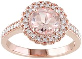 Rose Gold Tone Sterling Silver Morganite & 1/8 Carat T.W. Diamond Halo Ring