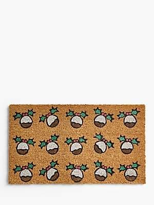 John Lewis & Partners Christmas Pudding Door Mat
