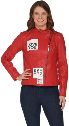 Peace Love World Patched Zip-Front Leather Jacket