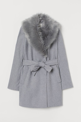H&M Coat with Faux Fur Collar - Gray