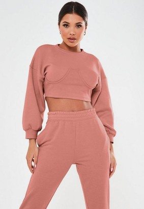 Missguided Petite Dark Pink Corset Sweatshirt