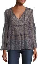 Joie Shawnita Split-Neck Printed Sheer Top