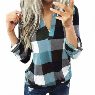 BUKINIE 2021 Womens Plaid Shirts Roll Up Long Sleeve Henley V-Neck Tops Casual Loose Boyfriend Tunic Blouses Plus Size(Sky Blue Small)