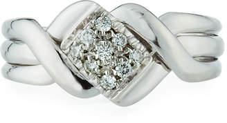 Salvini 18k White Gold Braided Diamond Ring, Size 7.5
