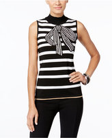 INC International Concepts Petite Striped Bow Graphic Sweater, Only at Macy's