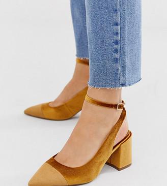 Asos Design DESIGN Wide Fit Squire pointed mid-heels in ochre velvet-Yellow