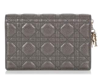 Christian Dior Lady Silver Leather Clutch bags