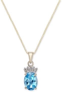 "Macy's Blue Topaz (1-5/8 ct. t.w.) & Diamond Accent 18"" Pendant Necklace in 14k Gold"