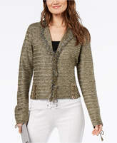 INC International Concepts Metallic Lace-Up Cardigan, Created for Macy's