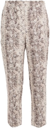 Bailey 44 Austin Cropped Snake-print Stretch-cady Tapered Pants