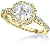 Nana Asscher Cut Halo Engagement Ring -Yellow Gold Pated-Size 9