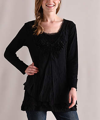 Pretty Angel Women's Tunics BLACK - Black Floral-Lace Ruffle Long-Sleeve Tunic - Women