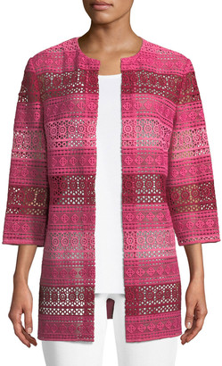Misook Petite Lace Topper Jacket with Knit Back