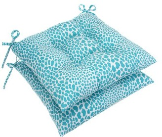 Bloomsbury Market Tufted Indoor/Outdoor Dining Chair Cushion Fabric: Aqua