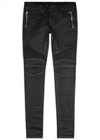Balmain Black Waxed Skinny Biker Jeans
