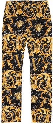 Versace Kids Printed stretch-cotton leggings