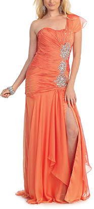 MayQueen Women's Special Occasion Dresses Orange - Orange Front-Slit Asymmetrical Gown - Women