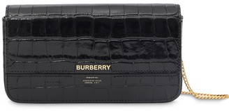 Burberry Embossed Wallet With Detachable Chain Strap
