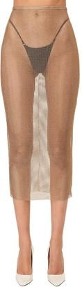 Alessandra Rich Sheer Crystals Mesh Midi Skirt