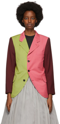 Comme des Garcons Pink and Green Colorblock Blazer