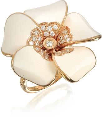 Rosato White Diamond, White Enamel and Rose Gold Iris Ring