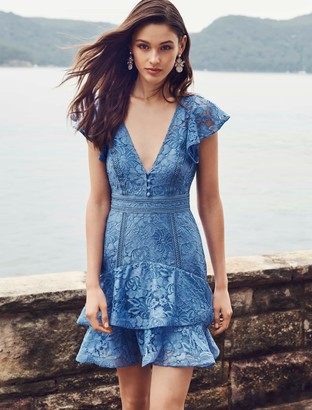 Forever New Mae Lace Skater Dress - Blue - 6