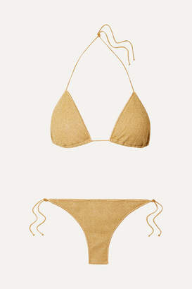 Oseree Lumiere Stretch-lurex Triangle Bikini - Gold