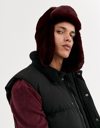 Asos DESIGN trapper hat in burgundy faux fur