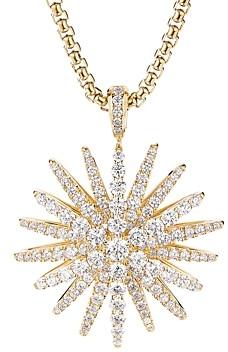 David Yurman Pave Diamond Starburst Pendant in 18K Yellow Gold