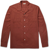 Camoshita Slim-fit Camp-collar Checked Cotton-blend Shirt - Brick