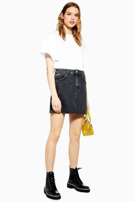 Topshop Washed Black Mini Denim Skirt