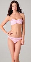 Gingham Ruffle Bandeau Bikini Top