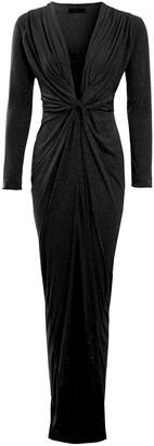 Sarvin Clara Black Glittery Plunge Front Knot Floor-Length Dress