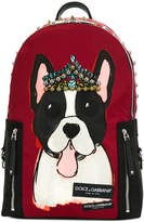 Dolce & Gabbana Vulcano dog print and studded backpack