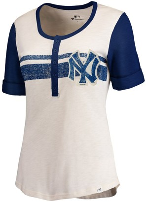 New York Yankees Women's Fanatics Branded Cream/Navy True Classics Henley T-Shirt