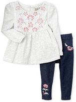 Lucky Brand Newborn/Infant Girls) 2-Piece Embroidered Flower Set