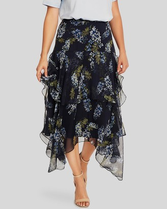 Vince Camuto Floral-Print Tiered Skirt