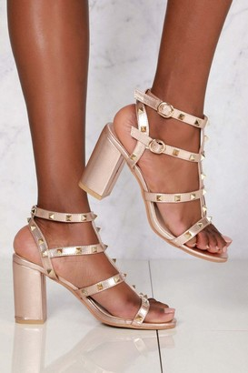 Miss Diva Abigail ankle strap with studs sandal in Champagne