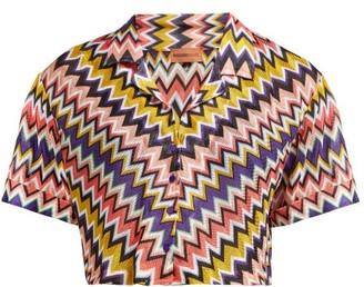 Missoni Mare - Zigzag Short-sleeved Cropped Shirt - Womens - Multi