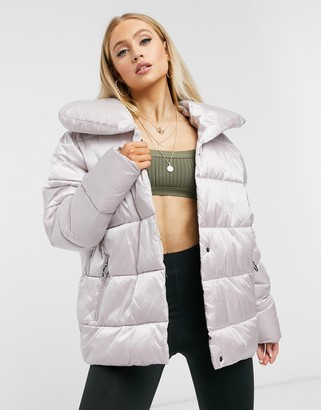 I SAW IT FIRST padded coat in metallic silver