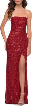 La Femme Strapless Sequin Column Gown